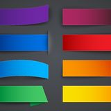 Set of blank colorful paper banners with shadows Stock Photos