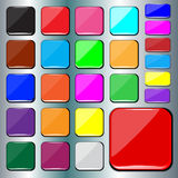 Set of blank colorful square buttons. Set of colorful design square buttons royalty free illustration