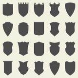 Set of blank empty dark shields. Shield badge. Vector shapes icon Stock Photo