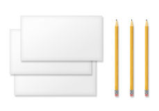 Set of Blank Envelopes and Yellow Pencils  on White. Stock Images