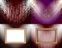 Set of Blank frame on a color wall lighting, Stock Image