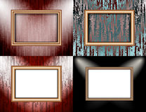 Set of Blank frame on a color wall lighting, Stock Photography