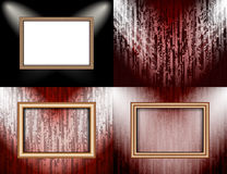Set of Blank frame on a color wall lighting, Royalty Free Stock Image