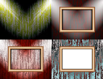 Set of Blank frame on a color wall lighting, Royalty Free Stock Photos