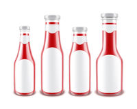 Set of Blank Glass Red Tomato Ketchup Bottles Royalty Free Stock Image