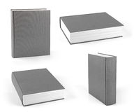 Set of blank gray hardcover books isolated on white Stock Photos