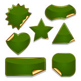 Set of blank green stickers Royalty Free Stock Photo