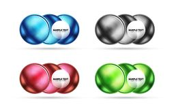 Set of blank matte glass glossy sphere circles Royalty Free Stock Photo