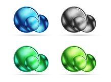 Set of blank matte glass glossy sphere circles Stock Images