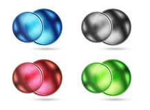 Set of blank matte glass glossy sphere circles Royalty Free Stock Photography