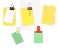 Set of blank notepaper with clip,tape,binder Royalty Free Stock Photography