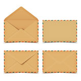 Set of blank old retro vector envelopes  on white Stock Image