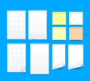 Set of blank paper on blue background vector illustration eps 10 Stock Image