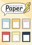 Set of blank paper notepad sheet in pop art style royalty free illustration