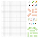 Set - Blank paper with office accessories Stock Photos