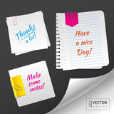 Set with blank paper sheets with paper clips. To make some notes on it. Vector illustration. EPS 10 vector illustration
