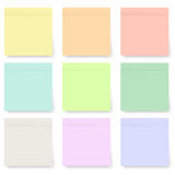 Set of blank pastel and colorful sticky notes isolated on white Stock Images