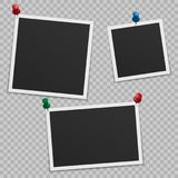 Set of blank photo frames with shadow, with buttons. Isolated on white background. Empty template for photography and picture Stock Image