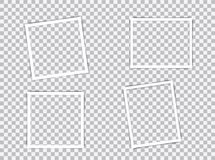 Set of blank photo frames with shadow effects isolated on transparent background. Vintage photos frame for your picture stock illustration