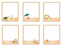 Set of Blank Photos with Beach Item Pictures Stock Photos
