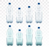Set of blank plastic blue water bottles. transparent. Set of blank plastic blue water bottles transparent eps10 vector illustration