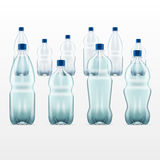 Set of  blank plastic blue water bottles. transparent. White background Stock Image