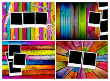 Set of Blank Polaroids on Wood Backgrounds. A set of blank polaroids on colorful wood backgrounds Royalty Free Stock Images