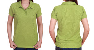 Set of blank polo shirt (front, back) on woman Royalty Free Stock Image