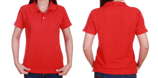 Set of blank polo shirt (front, back) on woman Stock Images