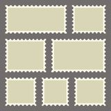 Set of blank postage stamps of different sizes. Vector illustration royalty free illustration