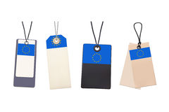 Set of Blank price tags with flag of EU Stock Images