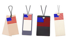 Set of Blank price tags with flag of USA. Royalty Free Stock Photography