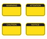 Set: Blank Rectangle Warning Sign, Attention Sign, Caution Sign, Notice Sign. stock illustration