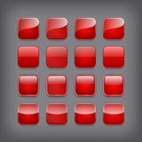 Set of blank red buttons Stock Photo