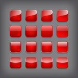 Set of blank red buttons Royalty Free Stock Images