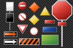 Set of blank road signs and symbols. Isolated on transparent background. Vector illustration royalty free illustration