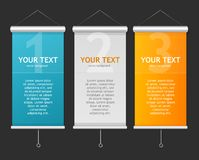 Set of Blank roll up posters. 1,2,3 concept Royalty Free Stock Photography