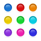 Set of Blank round button for website. 3D glass button collectio Stock Photos