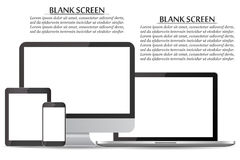 Set of blank screens. Computer monitor, laptop, tablet, smartphone Royalty Free Stock Images