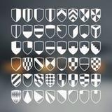 Set of blank of shields. 48 blank of retro shields Stock Photos