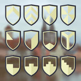 Set of blank of shields 3 Royalty Free Stock Photos
