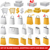 Set of blank shopping bags, carts and giftboxes Stock Images