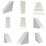 Set of Blank Stairs. 3d render illustration isolated on white Stock Photography
