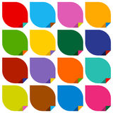Set of 16 blank stickers with bent colored angles Royalty Free Stock Photos