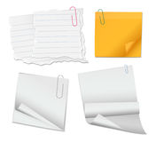 Set of blank sticky note papers and documents with paperclips is. Olated on white background royalty free illustration