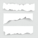 Set of blank Torn paper sheets. Vector note pieces collection with sticky tape Stock Image