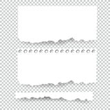 Set of blank Torn paper sheets. Vector note pieces collection with sticky tape Royalty Free Stock Photography