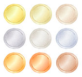 Set of blank vector templates for coin, price tags, buttons, sewing, buttons, badges or medals with gold in different types: white Royalty Free Stock Photo