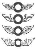 Set of the blank vintage emblems with wings. Stock Photos