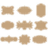 Set of blank vintage frames. Gift tags. Paper labels. Flat design. isolated vectors. Stock Images